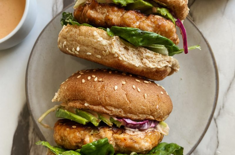 Salmon Burgers with Spicy Slaw