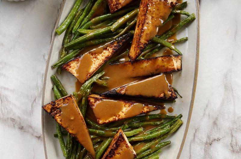 Maple Tahini Tofu with Green Beans