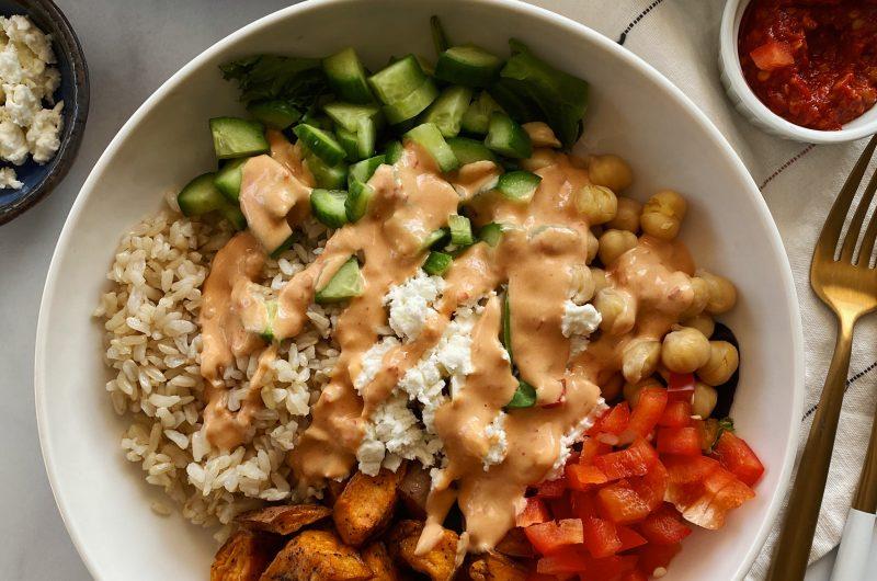 Sweet Potato Feta Bowls with Harissa Tahini