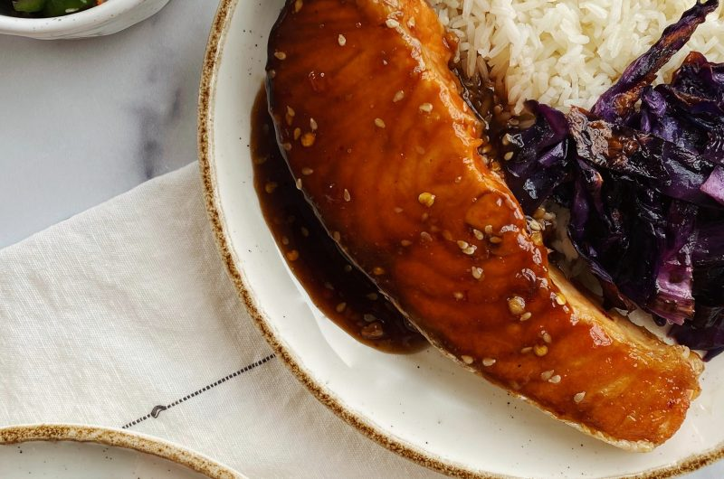 The best salmon recipe with coconut rice, roasted cabbage & cucumber salad