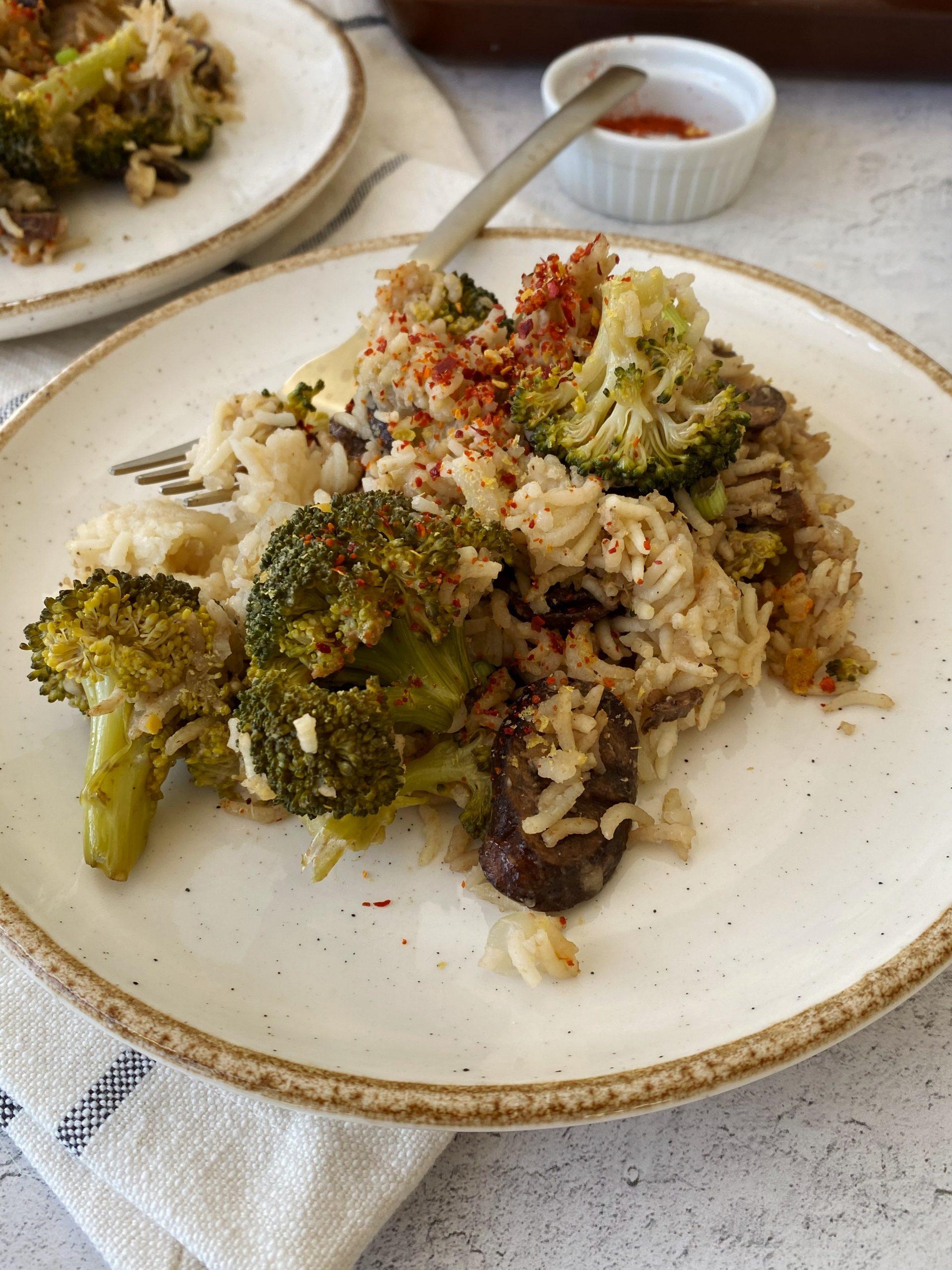 Mushroom Broccoli Rice Bake