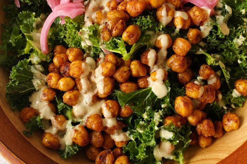 Kale Tahini Caesar Salad with Chickpea Croutons