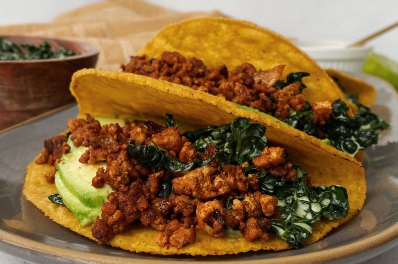 Crumbled Tofu Tacos with Kale Slaw