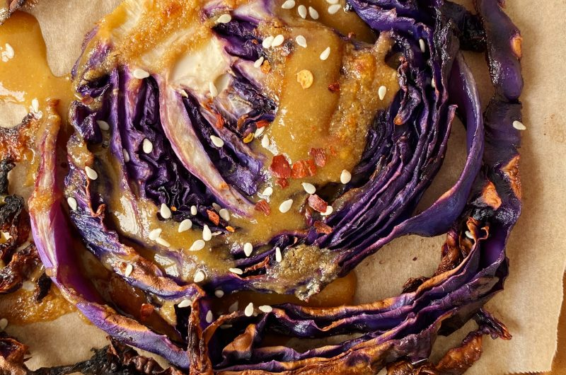Roasted Cabbage with Maple Tahini