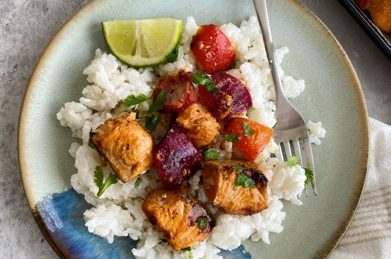 Creamy Coconut Rice with Spiced Salmon Skewers